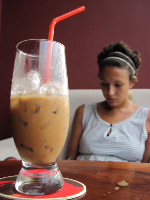 Becca with her Vietnamese coffee.