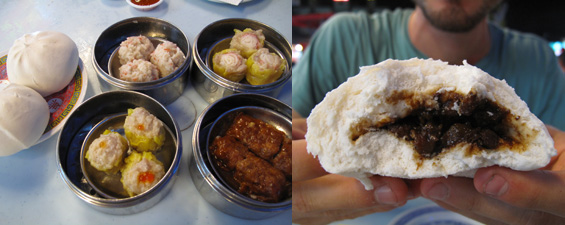 Variety of dumplings and pork buns